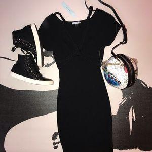 Do & Be | Ribbed Bodycon Deep V-Neck Mini Dress